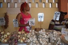 El ajo y la cebolla son apetecidos en la plaza de mercado de la preciosa ciudad de Santiago. Fuente: 3Colibrís.